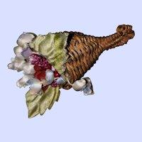Sweet Vintage Wicker Woven Cornucopia Textile Floral Brooch Pin