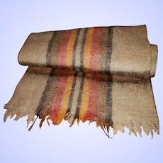 Quality Large Fringed Scarf 89% Wool 11% Nylon MI Italy