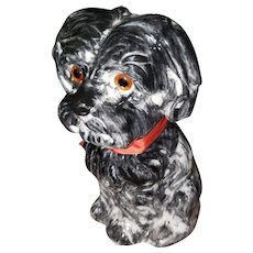 Sweet Ceramic Puppy Dog Still Figural Coin Bank