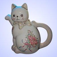 SWEET Vintage Figural Kitty Cat Ceramic Teapot MI Taiwan