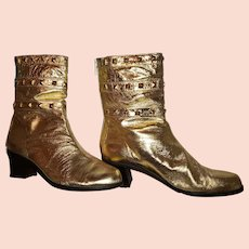 Ladies Sz 7 1/2 M Leather Ankle Boots Made in Spain