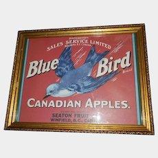 Decorative Wall Art Framed Paper Fruit Crate  Label Blue Bird Canadian Apples