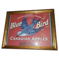Decorative Wall Art Framed Paper Fruit Crate  Label Blue Bird Canadian Apples