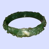 Vintage Green Cream Celluloid Bangle Bracelet