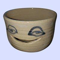 Smiling Face Pentz Pottery Nova Scotia Hand Turned Egg Separator Seperator