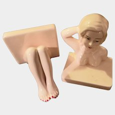 VTG Painted Ceramic Risque Nude Lady Bookends