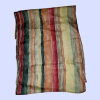 Lovely Vintage Striped Silk Long Rectangular Ladies Fashion Scarf