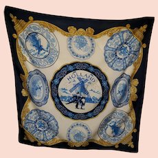 Lovely Blue & White Souvenir Travel Scarf Featuring Holland