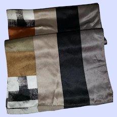 Long Rectangular Geometric Print Designer Signed Echo Silk Scarf