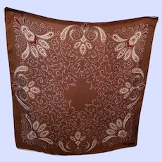DESIGNER Signed Jacqmar Hand Rolled Silk Scarf Paisley Pattern