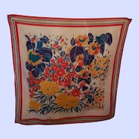 VINTAGE Floral Pattern 100 % Cotton Scarf Made in France