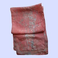 Pretty Long Rectangular Salmon Pink Spatter Pattern  Silk  Scarf