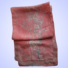 Pretty Long Rectangular Salmon Pink Spatter Pattern  Silk  Scarf