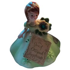 Josef Original Birthstone Doll Series Figurine   by Giftcraft May Emerald