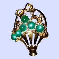 DECO Era BASKET of Flowers Rhinestones & Green Plastic Moonstone Cabochons
