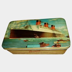VINTAGE Advertising Tin Litho Hinged Box Queen Mary Bensons Confectionery  LTD England