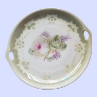 LOVELY 3 Crown China Germany  Rose Floral Themed Handled Plate