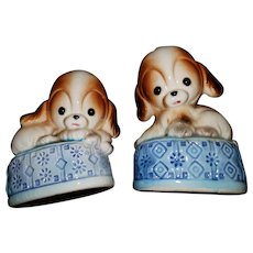 Cute Big Eyed Puppy Dog Ceramic Salt Pepper Spice Shakers Japan Giftcraft