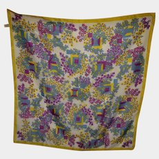 VTG Floral Print Scarf Fresh as a Breeze Acetate Polyamide Italy