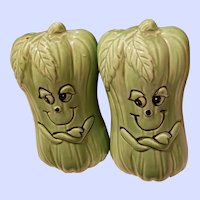 Cute Anthropomorphic Range Style Veggie Celery Salt & Pepper Spice Set Japan