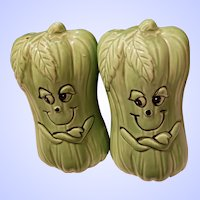 Cute Anthropomorphic Range Style Veggie Celery Salt & Pepper Spice Set Japan