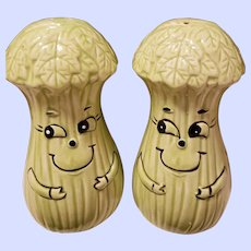 A cute Set of Antropomorphic Veggie Salt Pepper Spice Shakers