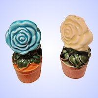 A Sweet Set of Ceramic Floral Salt Pepper Spice Shakers