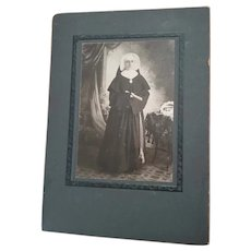VINTAGE B&W Cabinet Photograph Of a Nun