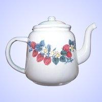 Vintage White Enamel Ware Tea Pot Teapot Red Raspberry Floral  Themed