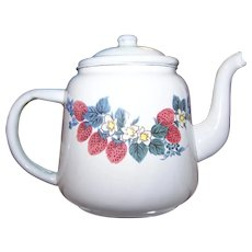 Vintage White Enamel Ware Tea Pot Teapot Red Raspberry Floral  Themed