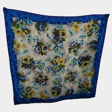 Designer Signed Adrienne Vittadinni Silk Flower Themed Scarf