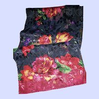DECORATIVE Paneled Scarf Floral Themed Long Rectangular