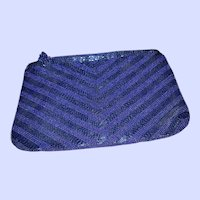 VTG Designer Genie Blue Glass Beaded Purse