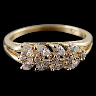 10K 1.00 CTW CZ Marquise Cluster Ring Size 8 Yellow Gold [QWXK]