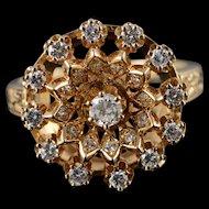 14K 0.75 CTW Diamond Halo Vintage Engraved Ring Size 9 Yellow Gold [QPQX]