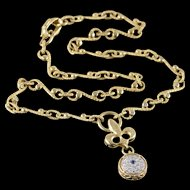 "18K Torrini - 0.60 CTW Sapphire Diamond Fancy Link Necklace 16.25"" Yellow Gold  [QPQX]"
