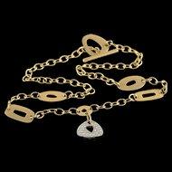 "18K Mattioli Designer 0.25 CTW Diamond Free Form Shape Necklace 17.9"" Yellow Gold  [QPQX]"