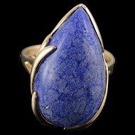 14K 26x16mm Blue Lapis Tear Drop Leaf Ring Size 9.25 Yellow Gold [QPQX]