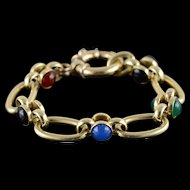 "14K HEAVY Cabochon Gemstone Fancy Bracelet 7""  Yellow Gold  [QPQX]"
