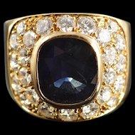 18K 2.85 Ct Sapphire 1.92 Ctw Diamond Ring Size 6 Yellow Gold [QWXS]