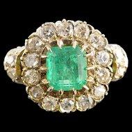 18K Victorian 1.68 Ct Emerald 1.32 Ctw Mine Cut Diamond Ring Size 6.75 White Gold [QWXS]