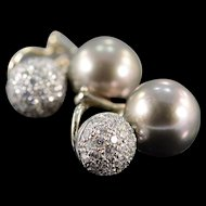 18K 10mm Tahitian Pearl 0.75 Ctw Diamond Spark French Clip Earrings White Gold  [QWXS]