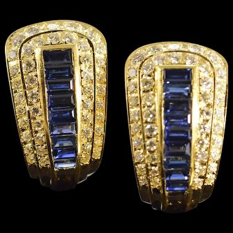 14K 4.60 Ctw Sapphire Diamond Statement French Clip Earrings Yellow Gold  [QWXS]