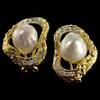 18K 0.40 Ctw Diamond Baroque Pearl Designer French Clip Earrings Yellow Gold  [QWXS]