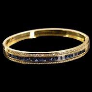 "18K 4.77 Ctw Sapphire Diamond Bangle Hinged Bracelet 2.35"" Yellow Gold  [QWXS]"