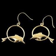 14K Jumping Dolphin Dangle Earrings Yellow Gold  [QPQQ]