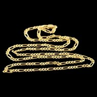 """14K 2.6mm Figaro Link Chain Necklace 19.9"""" Yellow Gold  [QPQQ]"""