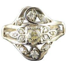 14K Vintage 1.50 CTW Mine Cut Diamond Engagement Wedding Band Ring Size 10.75 White Gold [QPQQ]