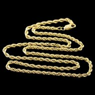 """14K 2.6mm Rope Link Chain Necklace 19.9"""" Yellow Gold  [QPQQ]"""