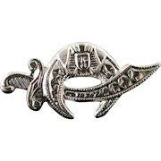 14K Shriner Sword Mood Lapel Tie Tack Pin/Brooch White Gold  [QPQQ]